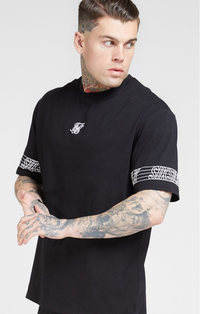 SikSilk S/S Essential Runner Oversized Tee – Black