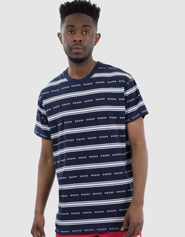 Status Stripe Custom Fit Tee - Navy