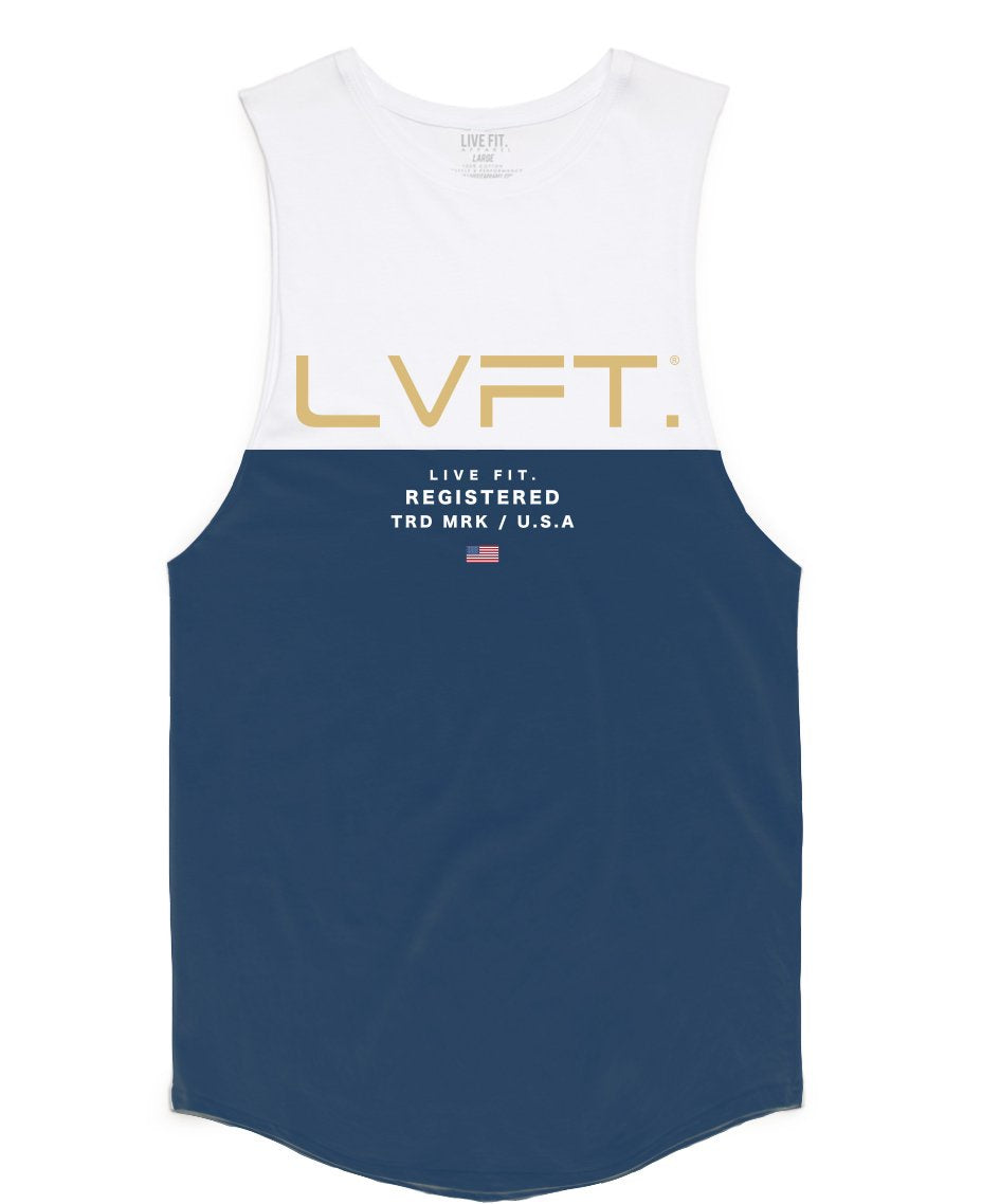 Divided Tank -White/Navy