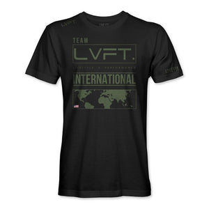 INTERNATIONAL TEE- BLACK/OLIVE