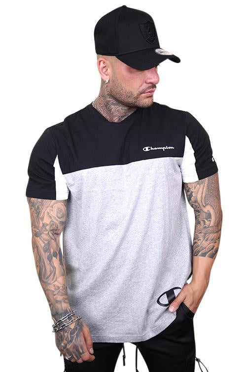 COLOURBLOCK TEE- White & Grey