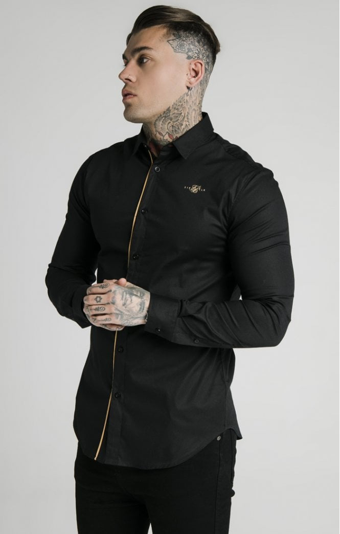 SikSilk L/S Gold Piping Shirt - Black & Gold