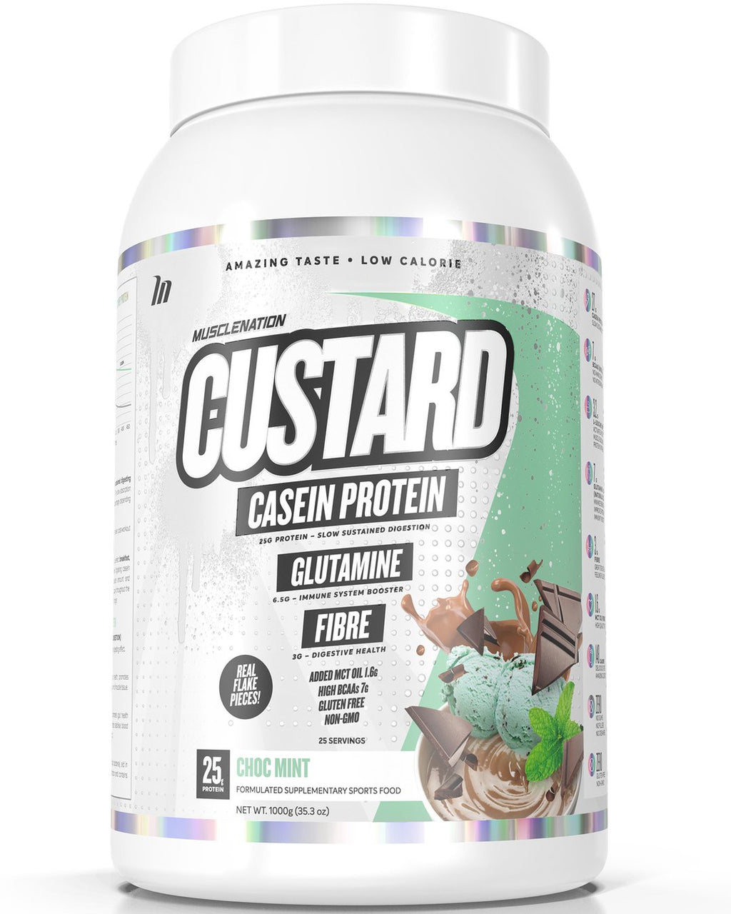 CUSTARD CASEIN PROTEIN CHOC MINT (W/ REAL CHOC FLAKE PIECES)