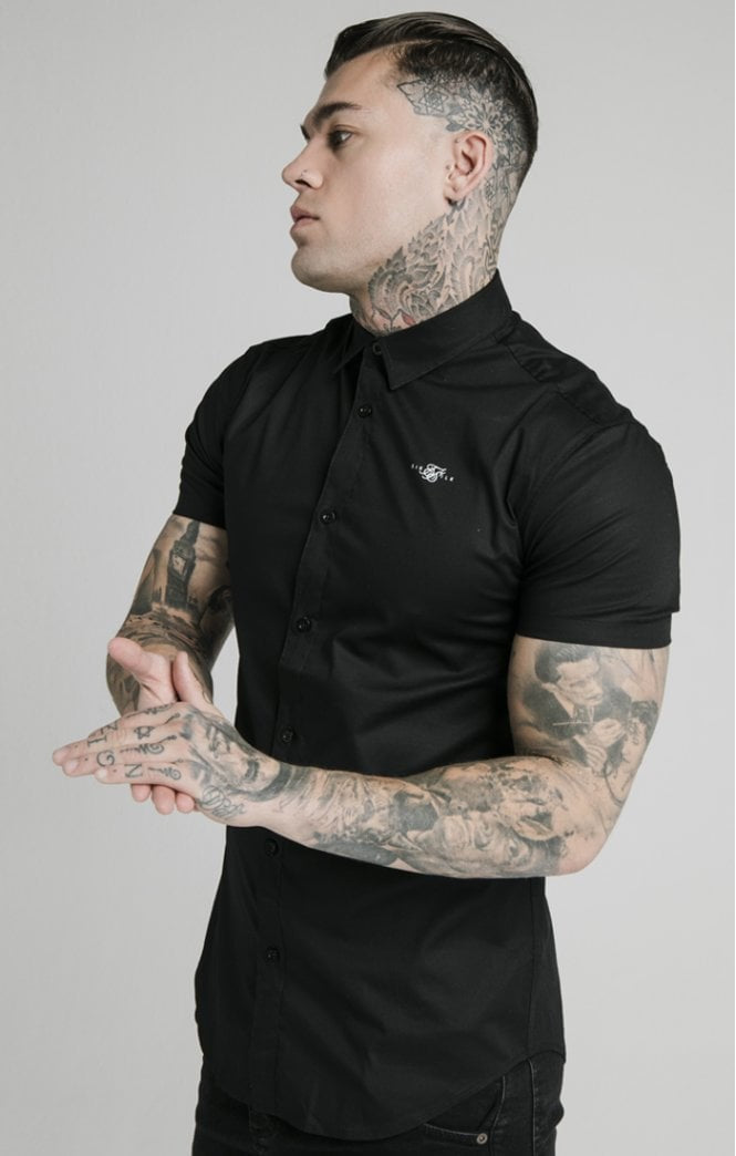 SikSilk S/S Standard Collar Shirt - Black