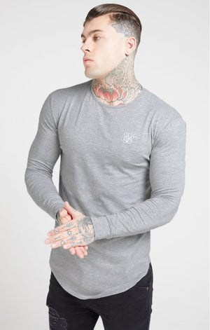 SikSilk  L/S Core Gym Tee – Grey Marl