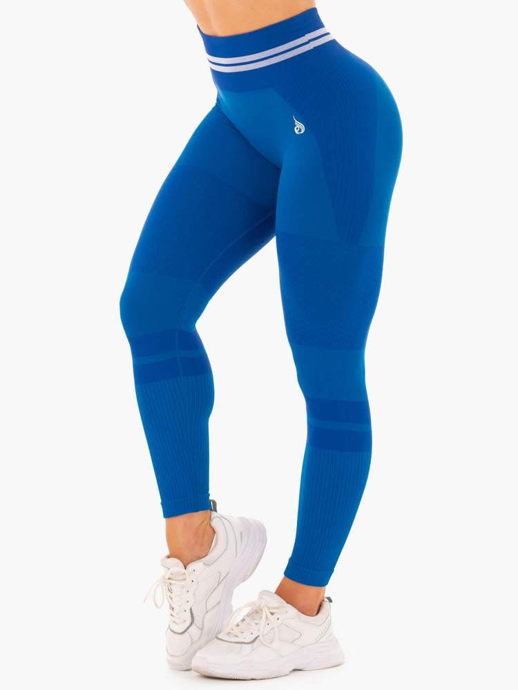 FREESTYLE SEAMLESS HIGH WAISTED LEGGINGS BLUE