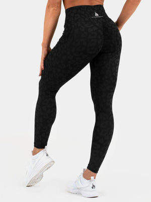 INSTINCT SCRUNCH BUM LEGGINGS LEOPARD BLACK