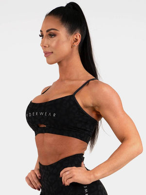 Animal Sports Bra  - Leopard Black