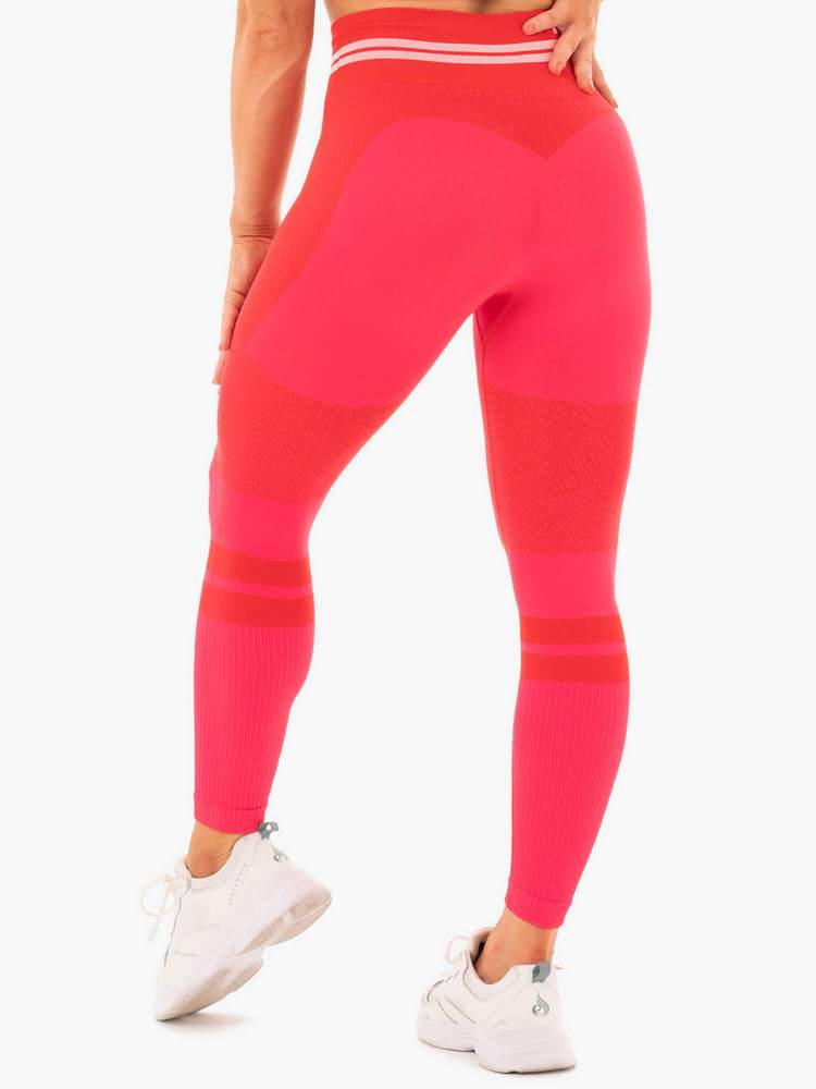 FREESTYLE SEAMLESS HIGH WAISTED LEGGINGS RED