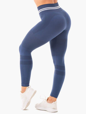 FREESTYLE SEAMLESS HIGH WAISTED LEGGINGS STEEL BLUE