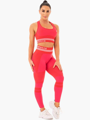 FREESTYLE SEAMLESS LONGLINE SPORTS BRA RED