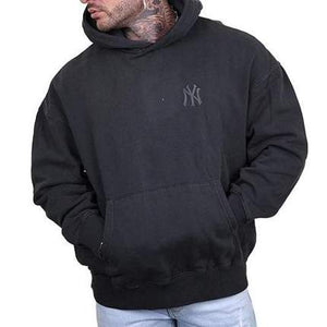 MAJESTIC ATHLETIC PLAYERS PATCH OVERDYE NY YANKEES HOODIE - PIRATE BLACK