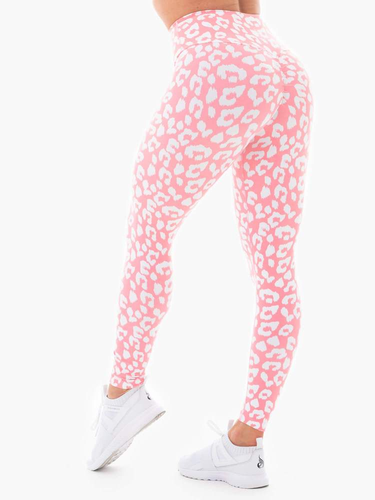 Instincts Scrunch Bum Leggings  Pink Leopard