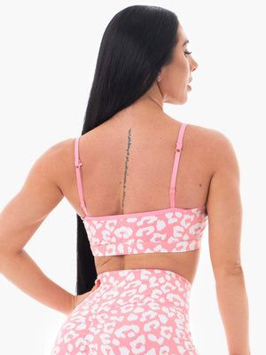 Animal Sports Bra  Pink Leopard