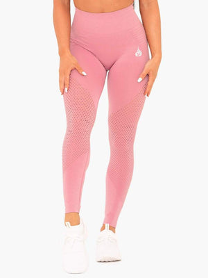 GEO SEAMLESS HIGH WAISTED LEGGINGS - PINK