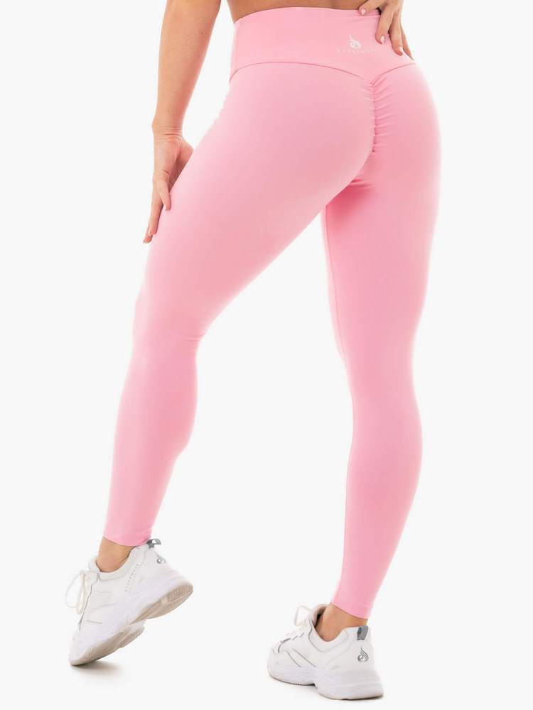 STAPLES SCRUNCH BUM LEGGINGS PINK