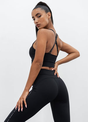 GYM KING SPORT TAPED LEGGING - BLACK