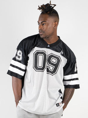 MENS VARSITY JERSEY BLACK/GREY