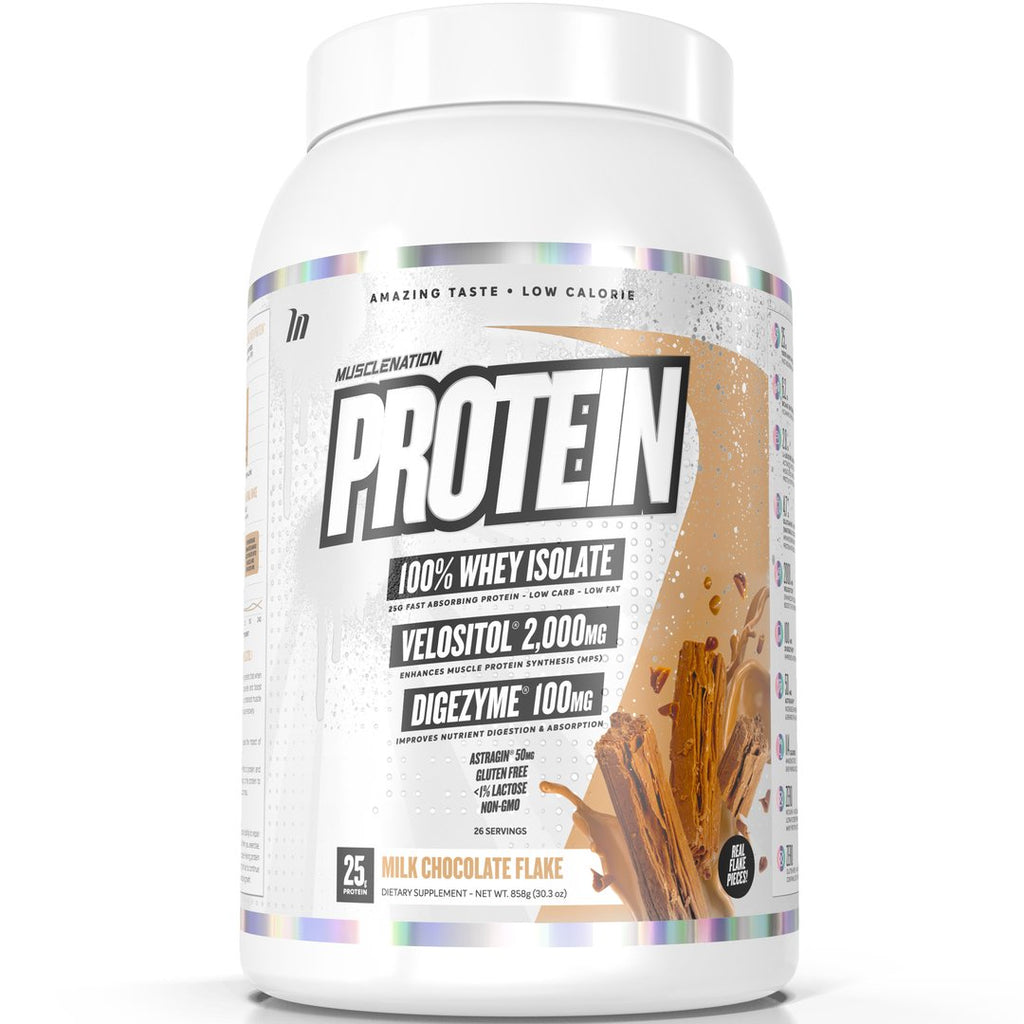 PROTEIN 100% WHEY ISOLATE MILK CHOCOLATE FLAKE (W/ REAL CHOC FLAKE PIECES)
