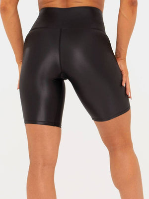 WET LOOK BIKE SHORTS BLACK