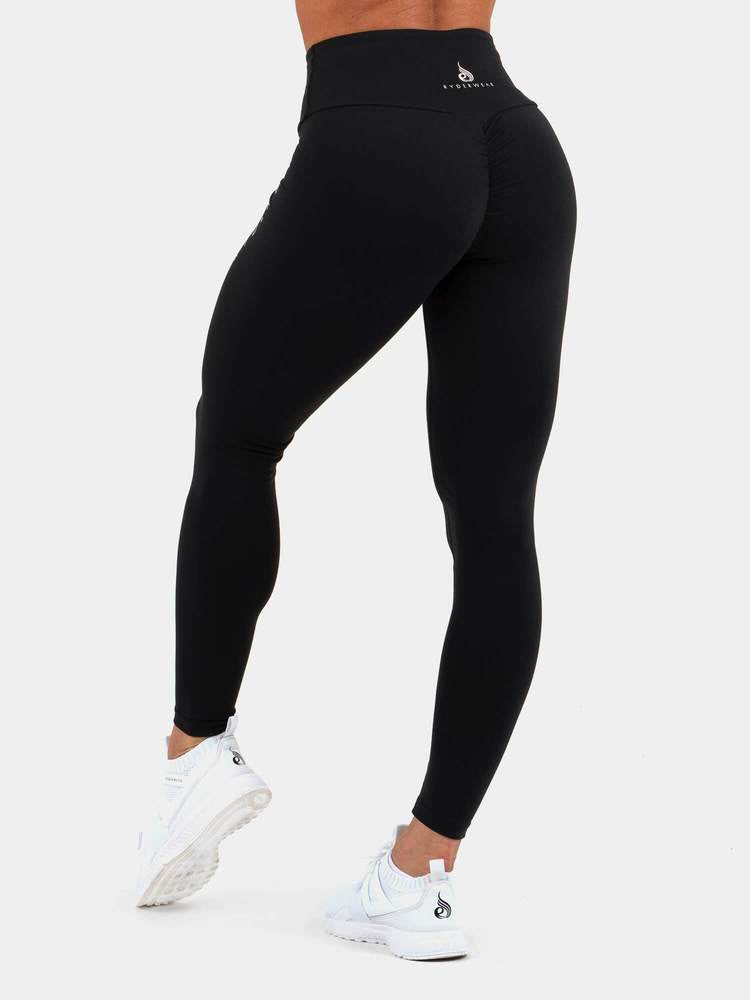 STAPLES SCRUNCH BUM LEGGINGS BLACK