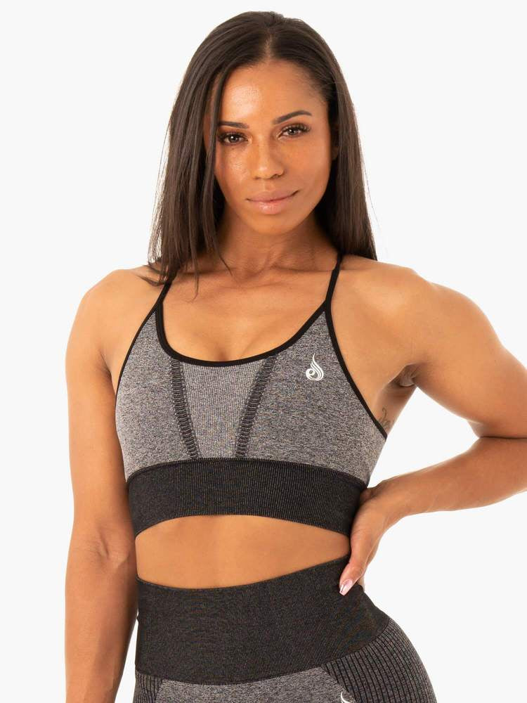 OASIS SEAMLESS SPORTS BRA BLACK MARL