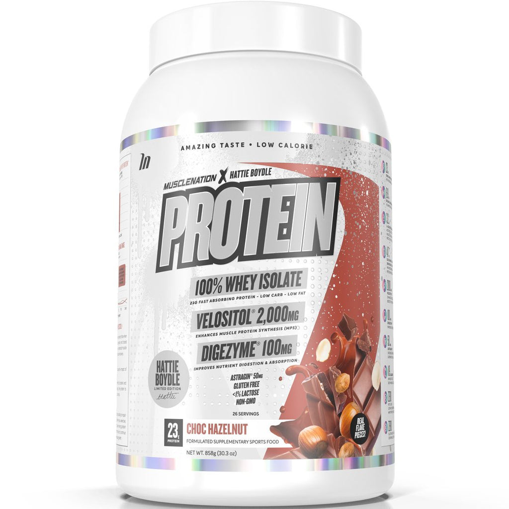 HBXMN PROTEIN 100% WHEY ISOLATE CHOC HAZELNUT (W/ REAL CHOC FLAKE PIECES)