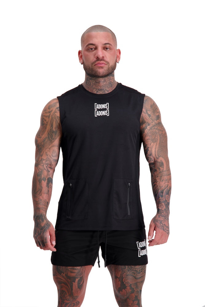 AG39 UTILITY (BLACK) POCKET MUSCLE TANK