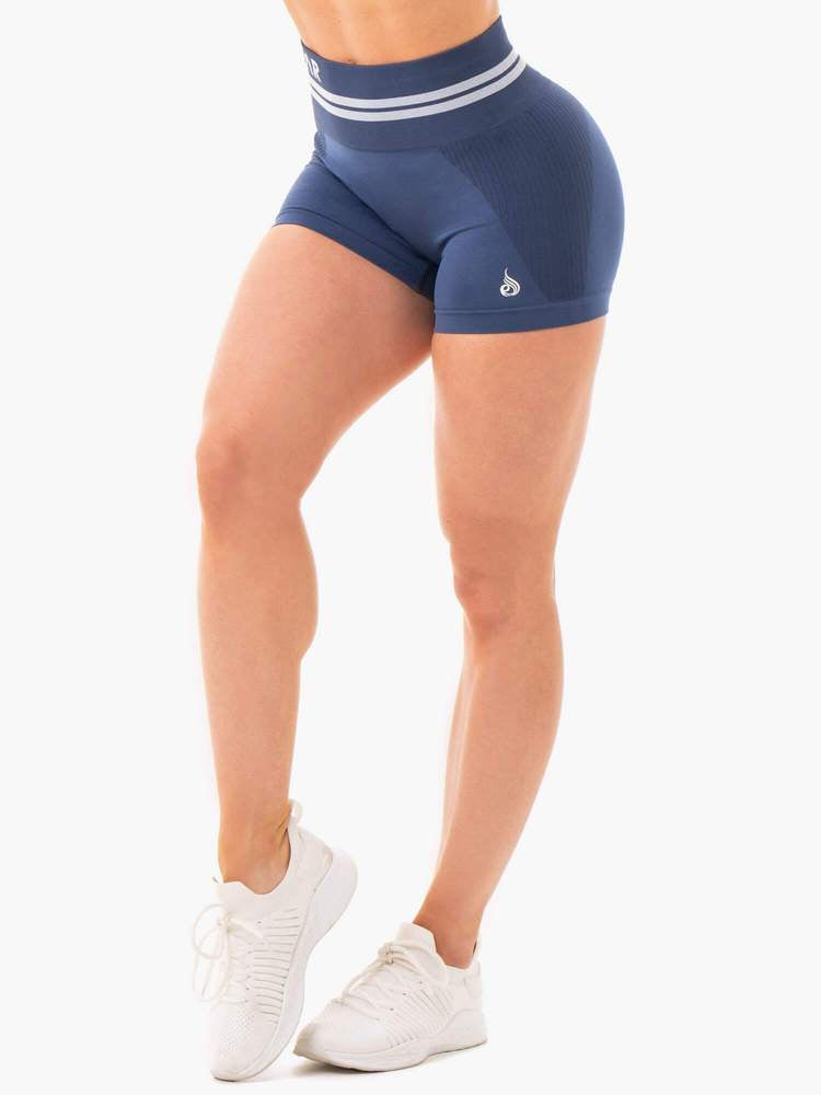 FREESTYLE SEAMLESS HIGH WAISTED SHORTS STEEL BLUE