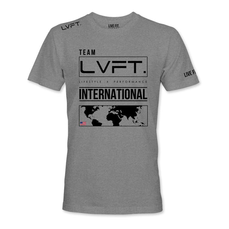 INTERNATIONAL TEE- HEATHER GREY/BLACK