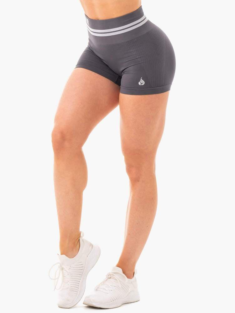 FREESTYLE SEAMLESS HIGH WAISTED SHORTS CHARCOAL