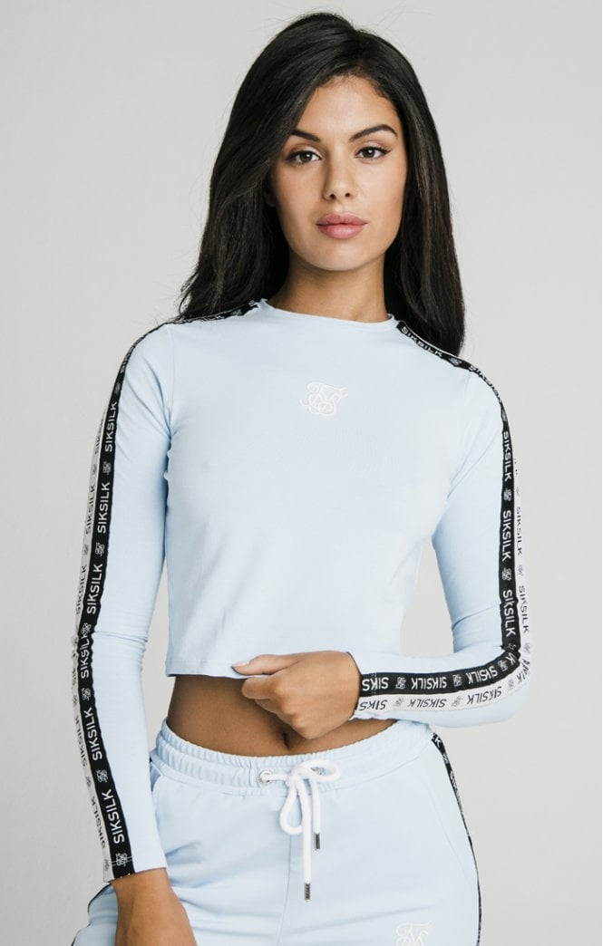 SikSilk Sky Tape Crop Tee - Light Blue