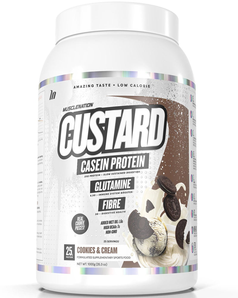 CUSTARD CASEIN PROTEIN COOKIES & CREAM (W/ REAL COOKIE PIECES)