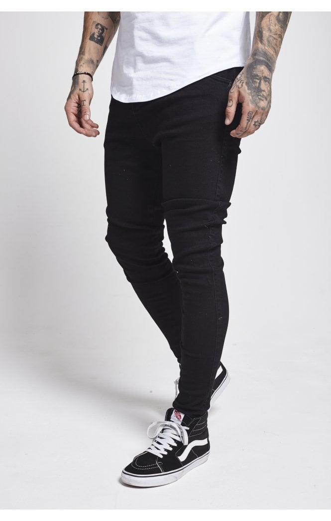 SikSilk  Drop Crotch Denims – Washed Black