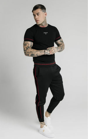 SikSilk Imperial Raglan Gym Tee - Black & Red