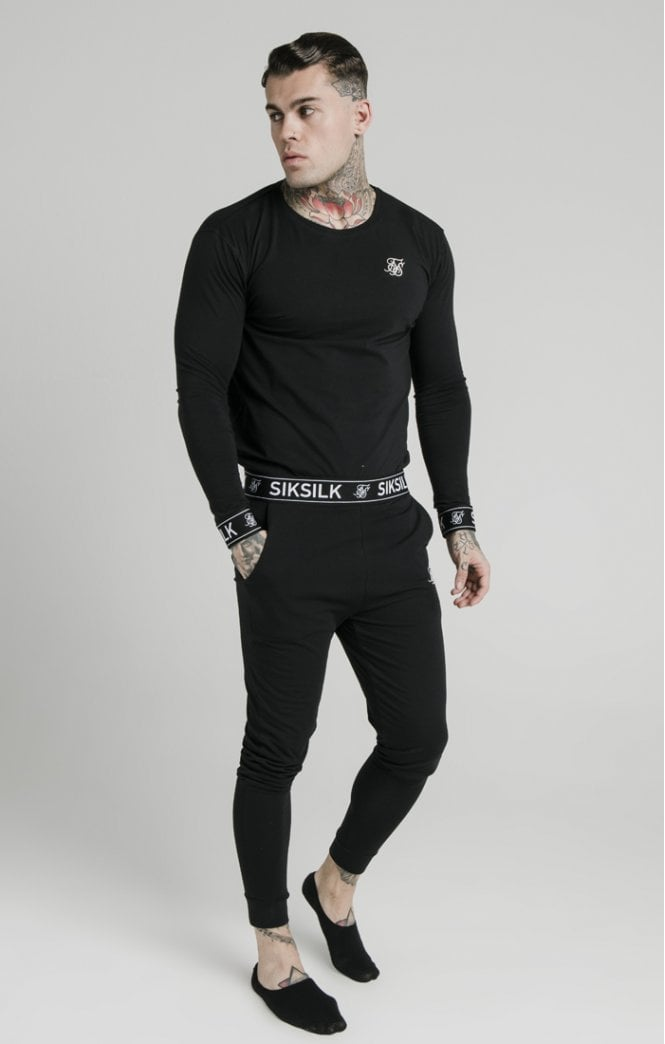 SikSilk L/S Lounge Tee – Black