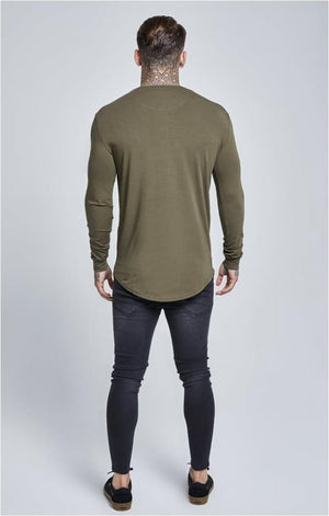 SikSilk  Long Sleeve Gym Tee – Khaki