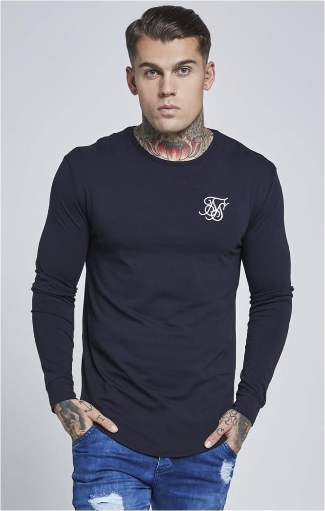 SikSilk Long Sleeve Gym Tee – Navy Blue
