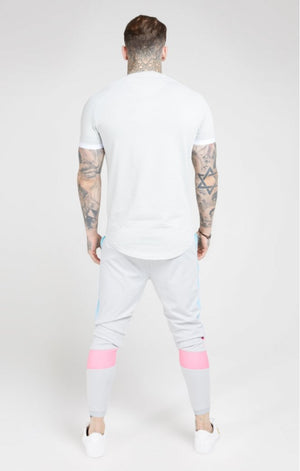 SikSilk S/S Inset Fade Tech Tee – Ice Grey & Tri Fade
