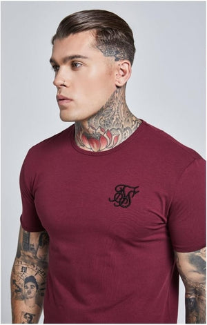 SikSilk  Short Sleeve Gym Tee – Burgundy