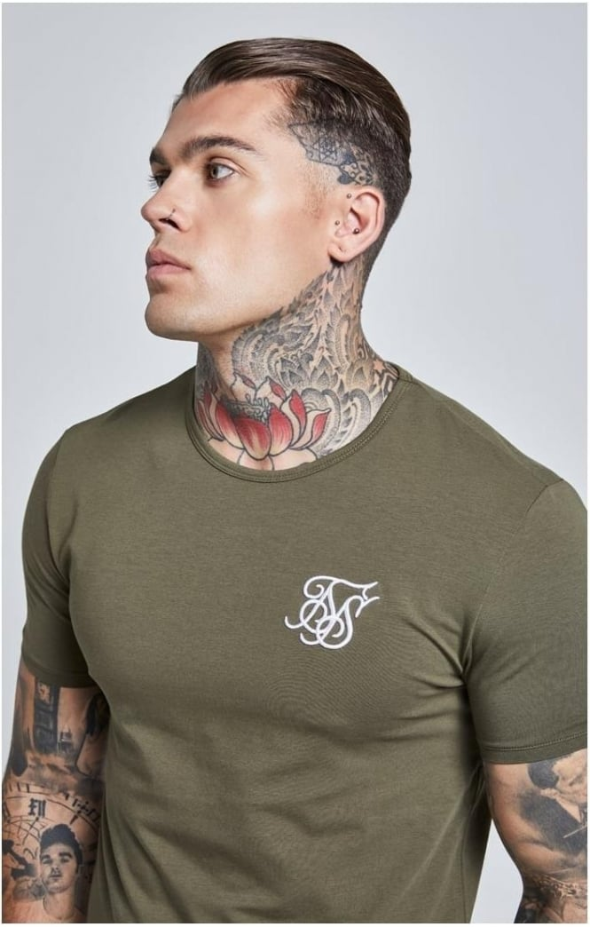 SikSilk  Short Sleeve Gym Tee – Khaki