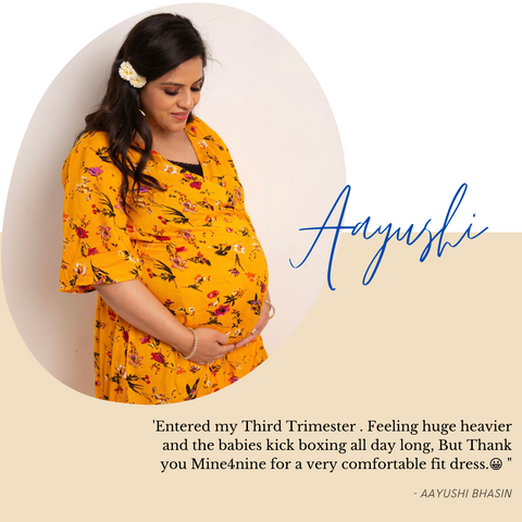 Our yellow maternity dress wear by our customer and share beautiful exprience with us.