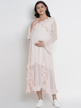 Load image into Gallery viewer, Mine4Nine - Dress - Light Peach Wrap Maxi Maternity Dress Made Of Chiffon & Lycra