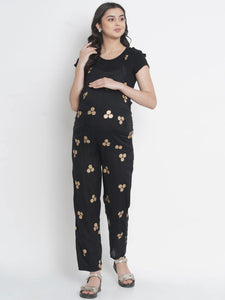 Mine4Nine - Dungaree - Black Regular Maternity Dungaree w/ Polka Dots Made Of Rayon