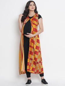 Mine4Nine - Shrug - Orange & Yellow Fit & Flare Maternity Shrug w/ Check Pattern, Made of Rayon