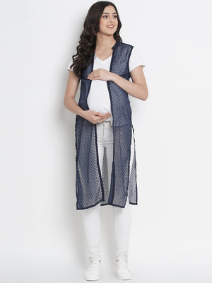 Mine4Nine - Shrug - Space Blue Straight Maternity Shrug w/ Leaf Print, Made of Georgette