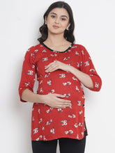 Load image into Gallery viewer, Mine4Nine - Top - Fire Brick Red Regular Fit Maternity Top w/ Floral Print, Made Of Rayon