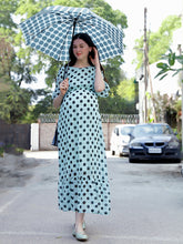 Load image into Gallery viewer, Seafoam Green A-Line Maternity Dress w/ Polka Pattern Made of Georgette & Lycra