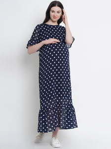 Navy Blue A-Line Maternity Dress w/ Polka Pattern, Made of Georgette & Lycra