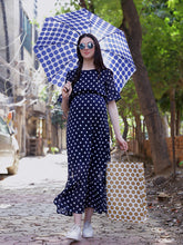 Load image into Gallery viewer, Navy Blue A-Line Maternity Dress w/ Polka Pattern, Made of Georgette & Lycra